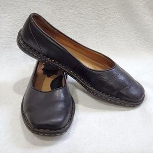 Born Black Leather Slip-ons